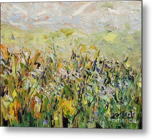 Field Paintings Metal Print featuring the painting Nose Hill by Seon-Jeong Kim