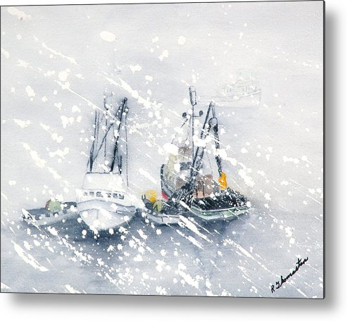 Coastal Metal Print featuring the painting Not All Fishing Is Fun by Robert Thomaston