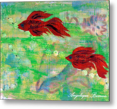Animals Metal Print featuring the painting Ocean Layers by Angelique Bowman