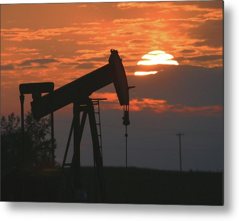 Oil Metal Print featuring the photograph Oil Pump Jack 6 by Jack Dagley