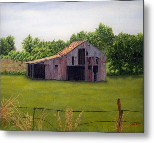 Old Barn Metal Print featuring the painting Old Barn Poetry Tx by Darren Yarborough