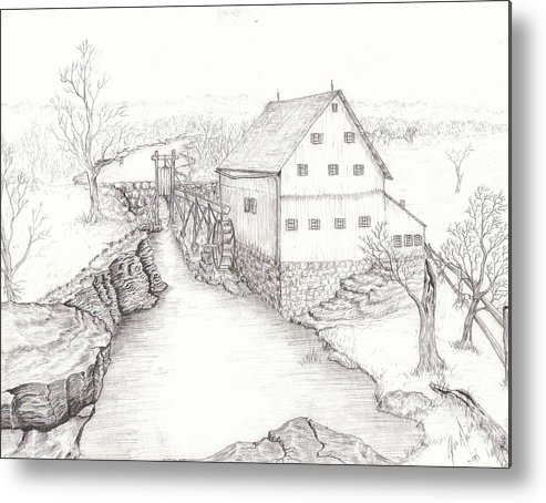 Realistic Drawing Metal Print featuring the drawing Old Grist Mill by Dan Theisen