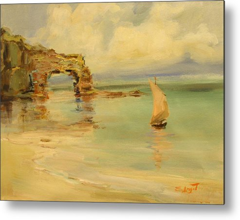 Sea Metal Print featuring the painting On The Shore by Tigran Ghulyan