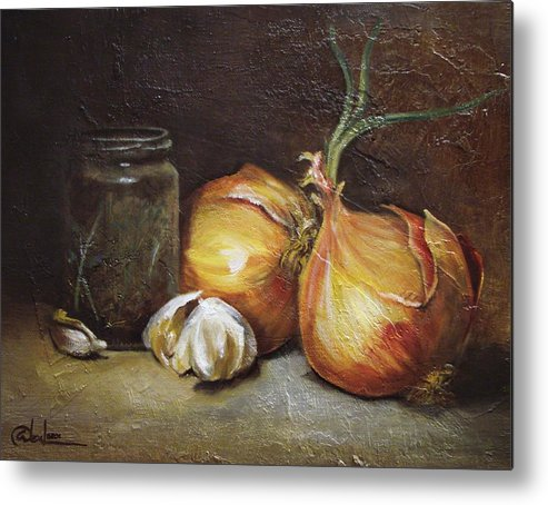 Vegetables Metal Print featuring the painting Onions And Garlic by Alex Loza