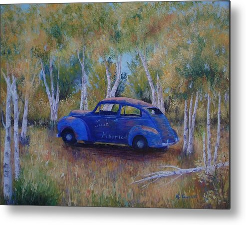 Landscape Metal Print featuring the painting Only Just Begun by Maxine Ouellet