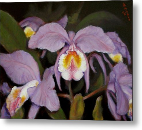 Realism Metal Print featuring the painting Orchids by Donelli DiMaria