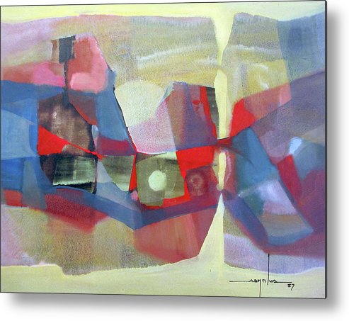 Oil Abstract Metal Print featuring the painting Os1957bo003 Abstract Landscape Potosi 23.75x18.25 by Alfredo Da Silva