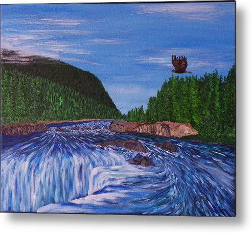 Elbow River Metal Print featuring the painting Over The Elbow by Doug Wilkie