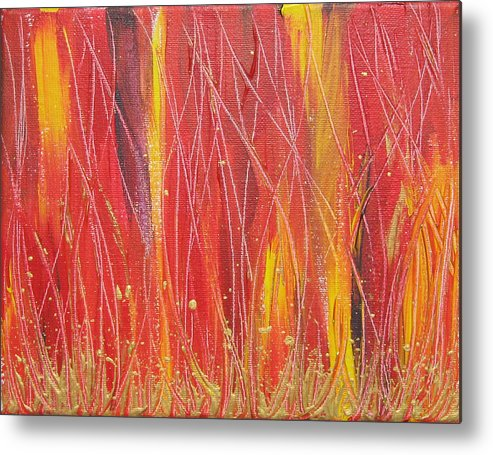 Fire Metal Print featuring the painting Passion Fire by Jolene Courtemanche