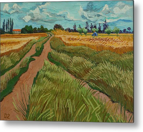 Landscape Metal Print featuring the painting Path Through A Wheat Fields by Vitali Komarov