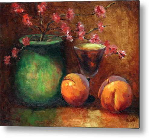 Peaches Metal Print featuring the painting Peach Blossoms by Linda Hiller