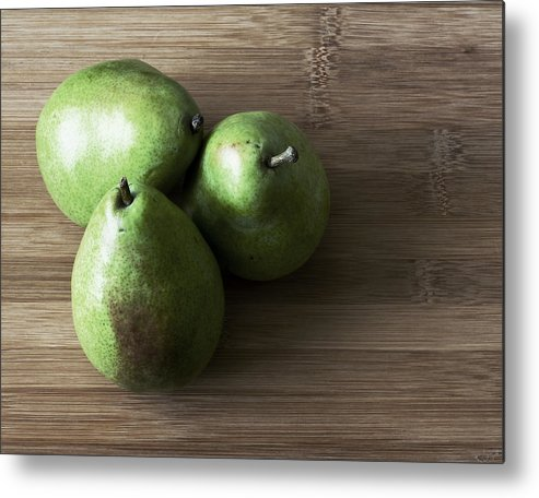 Pears Metal Print featuring the photograph Pear Trio Muted by Eric Ziegler