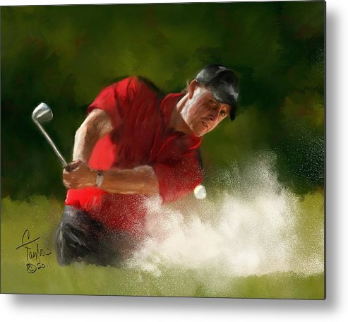 Golf Metal Print featuring the painting Phil Mickelson - Lefty In Action by Colleen Taylor