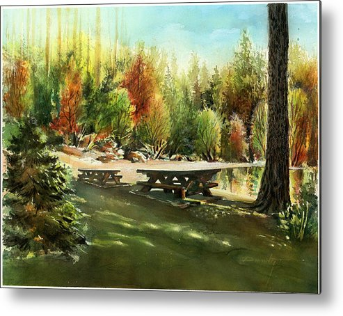 Landscape Metal Print featuring the painting Picnick Tables by Dumitru Barliga