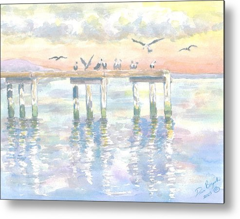 Pier Metal Print featuring the painting Pier Jury by Dan Bozich
