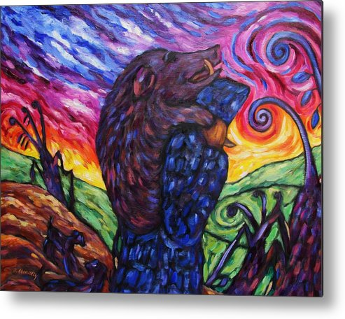 Diconnollyart Metal Print featuring the painting Pighunter And Boar At Sunset by Dianne Connolly