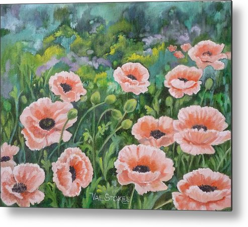 Flowers Metal Print featuring the painting Pink Poppies by Val Stokes