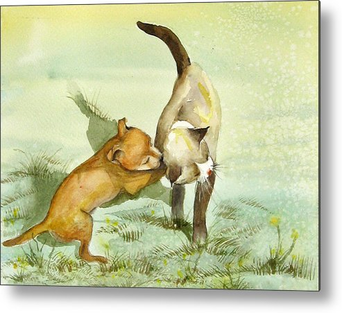 Dog Metal Print featuring the painting Play Time by Gina Hall
