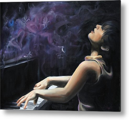 Piano Metal Print featuring the painting Playing With Feeling by Maryn Crawford