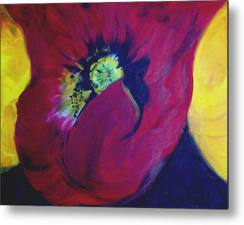 Poppies Metal Print featuring the painting Poppies Nod To O'keefe by Karen McNamara