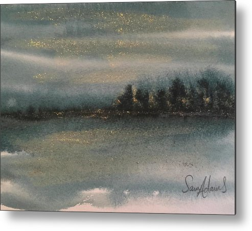 Glitter Metal Print featuring the painting Prussian And Gold by Samantha Adams