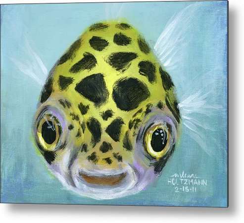 Green Spotted Puffer Fish Metal Print featuring the painting Puffy by Arleana Holtzmann
