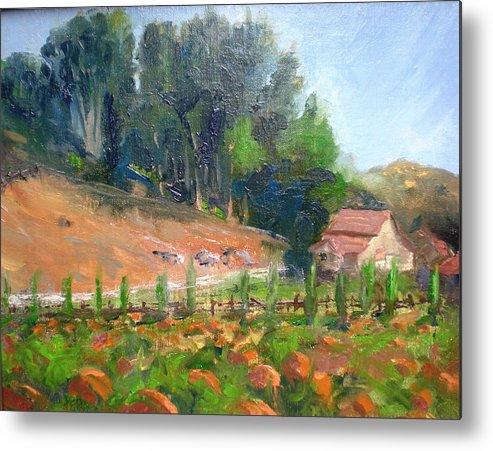 Barns Metal Print featuring the painting Pumpkin Fields At Bates Nut Farm by Bryan Alexander