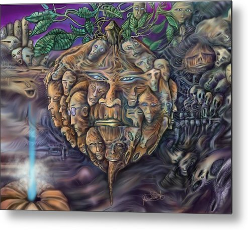 Sciencefiction Metal Print featuring the digital art Pumpkin Morph Cycle by Paul Shields
