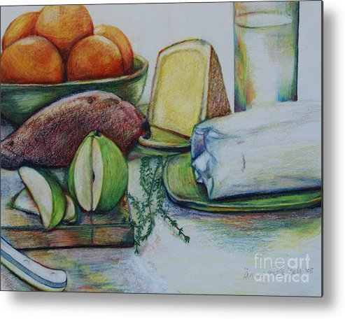 Food Metal Print featuring the drawing Purchases From The Farmers Market by Anna Mize Bell