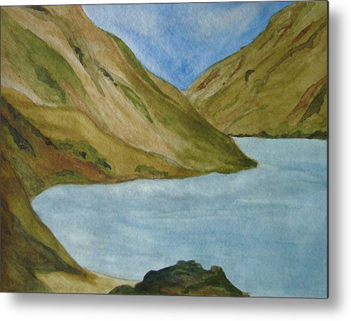 Landscape Metal Print featuring the painting Quiet Bay by Liz Vernand