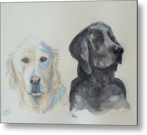 2 Dogs Metal Print featuring the painting Quincy And Bodie by Dan Bozich