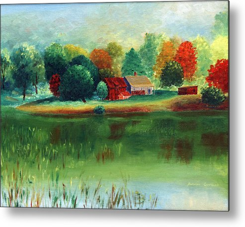 Pond Metal Print featuring the painting Quit Pond by Anthony Coviello