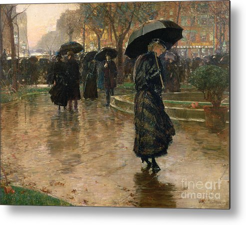 Rain Storm Metal Print featuring the painting Rain Storm Union Square by Childe Hassam