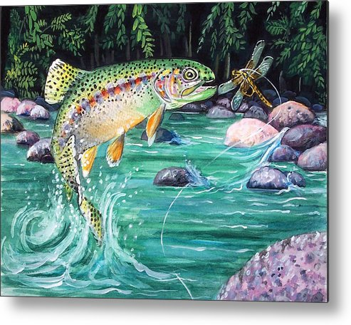 Fish Metal Print featuring the print Rainbow Trout by Bette Gray