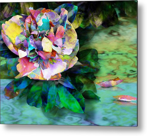 Peony Metal Print featuring the digital art Rainy Day Peony by Gae White