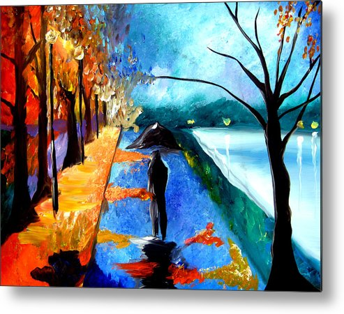 Pop Art Metal Print featuring the painting Rainy Night by Tom Fedro - Fidostudio