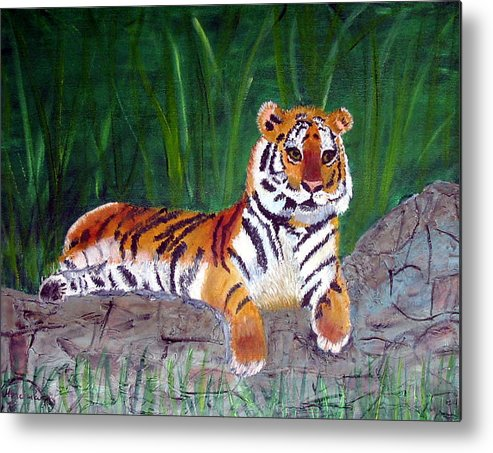 Animal Metal Print featuring the painting Rajah by Marcia Paige