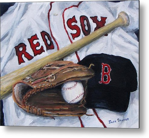 Red Sox Metal Print featuring the painting Red Sox Number Six by Jack Skinner