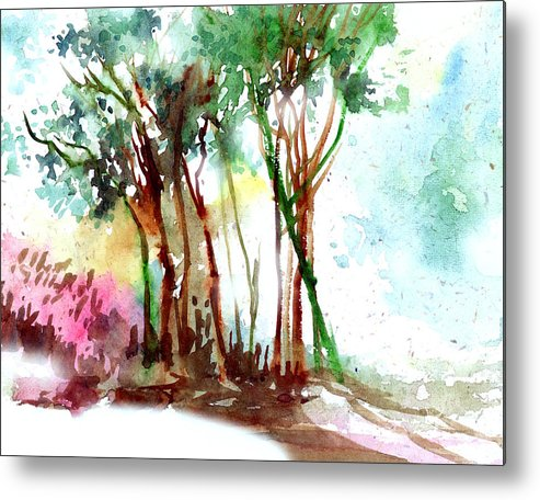Landscape Metal Print featuring the painting Red Trees by Anil Nene