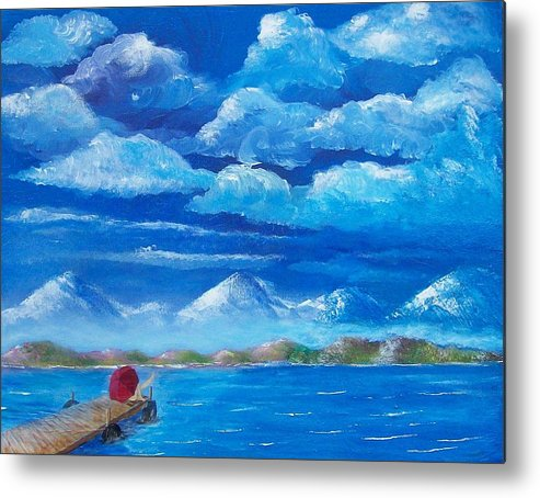 Seascape Metal Print featuring the painting Red Umbrella Iv by Tony Rodriguez