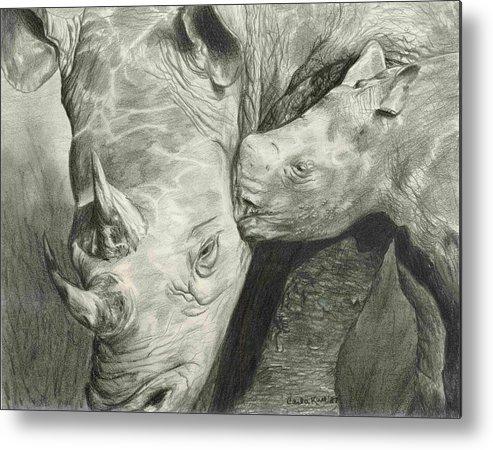 Rhino Metal Print featuring the drawing Rhino Love by Carla Kurt