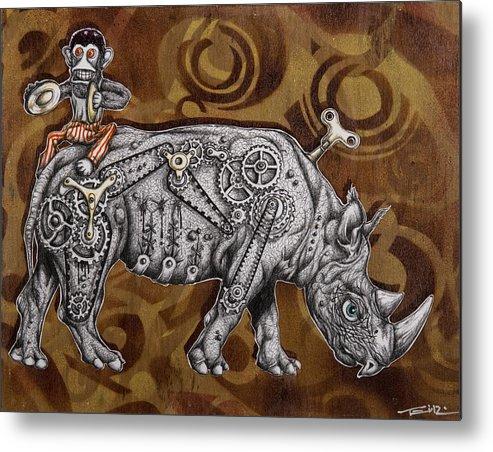 Rhino Metal Print featuring the painting Rhino Mechanics by Tai Taeoalii