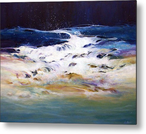 Acrylic Painting; Painting;water;ocean;rocks;transparent;surf;flowing Water;painting On Canvas; Metal Print featuring the painting Rhythmic Flow by Lois Mountz