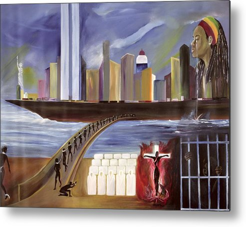 Crossing Metal Print featuring the painting River Of Babylon by Ikahl Beckford