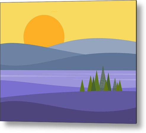 River Valley Sunrise Metal Print featuring the digital art River Valley Sunrise - Sunrise by Val Arie
