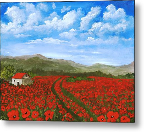 Poppy Metal Print featuring the painting Road Through The Poppy Field by Anastasiya Malakhova
