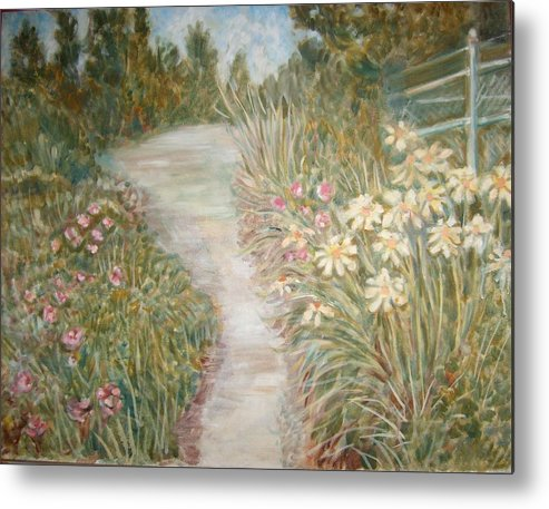 Landscape Flowers Bushes Trees Fence Metal Print featuring the painting Road To Sebago by Joseph Sandora Jr