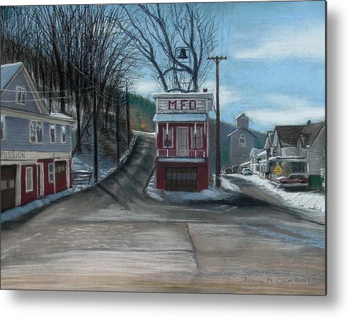 Firehouse Metal Print featuring the painting Route 6 Meshoppen Pa by John Clum
