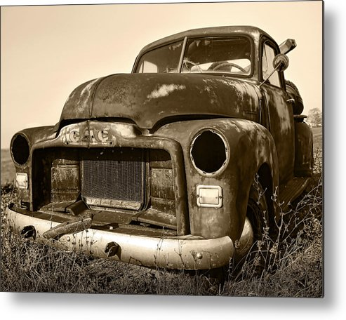 Vintage Metal Print featuring the photograph Rusty But Trusty Old Gmc Pickup Truck - Sepia by Gordon Dean II