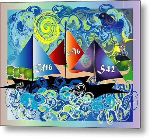 Lake Metal Print featuring the digital art Sailing With Dolphins by George Pasini